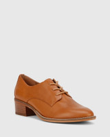Farris Tan Leather Block Heel Brogue.