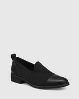 Jadya Black Leather and Neoprene Loafer.