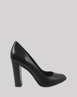 Willa Black Leather Almond Toe Block Heel.