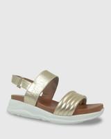 Kenya Gold Leather Open Toe Flatform Sandal.