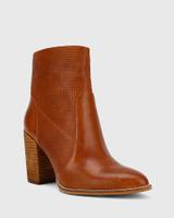 Halstead Cognac Leather Block Heel Ankle Boot.