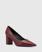 Penrose Bloodstone Leather Block Heel Pump
