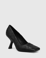 Xavi Black Woven Leather Slanted Stiletto Heel Pump