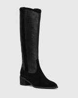 Juliet Black Suede Leather Croc Embossed Long Boot