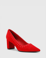 Dallory Red Suede Leather Block Heel Pump Point Toe.