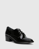 Farris Black Patent Block Heel Brogue.