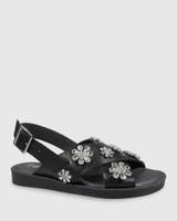 Elanna Black Leather Diamonte Flower Detail Flat Sandal.