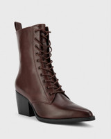 Kallie Wine Leather Pointed Toe Lace Up Block Heel Ankle Boot.