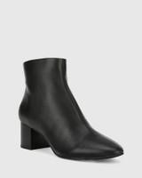 Alesha Black Leather Block Heel Ankle Boot.