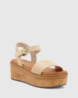Ruben Nude Leather Cork Flatform Sandal.