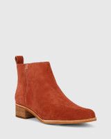 Glover Rust Suede Leather Flat Almond Toe Ankle Boot