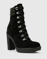 Vickie Black Leather Block Heel Lace Up Ankle Boot