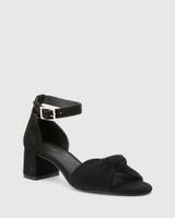 Isadore Black Suede Block Heel Sandal.