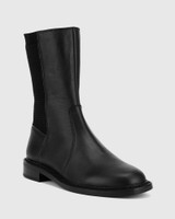 Blane Black Leather Stretch Gusset Pull On Flat Boot.
