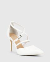 Hanisha White Leather Point Toe Stiletto Heel.