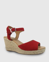 Umiko Red Suede Espadrille Open Toe Wedge.