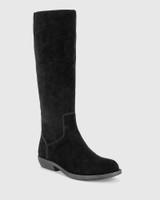 Devanna Black Suede Round Toe Flat Boot.