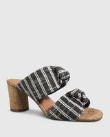 Caralyn Black Woven Knot Block Heel Sandal.