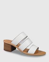 Ginnifer White Leather Block Heel Slide.