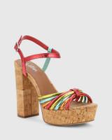 Viviette Multi Colour Synthetic Cork Platform Sandal.