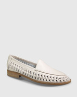 Haylie Vintage Ivory Leather Weave Detail Pointed Toe Loafer.