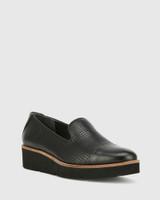 Janey Black Pin Punch Leather Flatform Wedge Slip On Loafer.