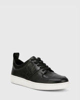 Gino Black Smooth Croc-Embossed Leather Lace Up Sneaker