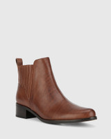 Gavin Dark Brown Leather Pull On Ankle Boot.