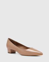 Armin Sunkissed Tan Patent Leather Pointed Toe Low Block Heel