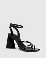 Raychie Black Patent Leather Angular Heel Sandal