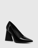 Humility Black Patent Leather Angular Heel Pump