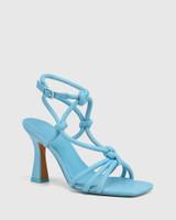 Roxanne Blue Lagoona Leather Flared Heel Strappy Sandal