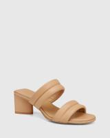 Million Sand Leather Triangular Heel Sandal