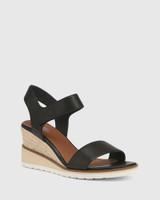 Glisten Black Leather Espadrille Wedge Sandal