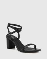Carelinah Black Leather Block Heel Sandal