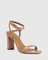 Raven Sunkissed Tan Patent Leather Open Toe Block Heel