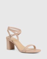 Carelinah New Flesh Leather Block Heel Sandal
