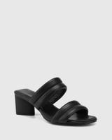 Million Black Leather Triangular Heel Sandal