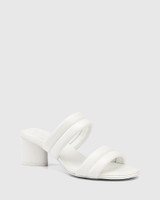 Million White Leather Triangular Heel Sandal