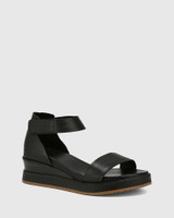 Zaylia Black Leather Ankle Strap Wedge