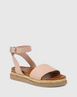 Zoeey Blush Leather Ankle Strap Sandal