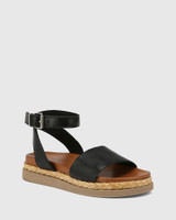 Zoeey Black Leather Ankle Strap Sandal