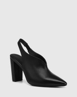 Hunton Black Leather Block Heel Slingback