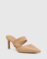Pettie Sand Leather Stiletto Heel Mule