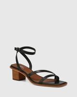 Jansen Black Leather Strappy Sandal
