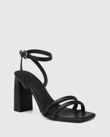 Rema Black Leather Block Heel Sandal