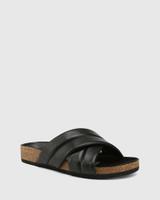 Amirah Black Leather Cork Slide
