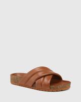 Amirah Tan Leather Cork Slide