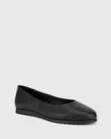 Bindi Black Leather Round Toe Slip On Flat.