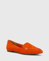 Packer Burnt Orange Nubuck Leather Pointed Toe Flat.